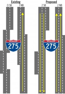 existing and proposed number of continuous lanes on I-275