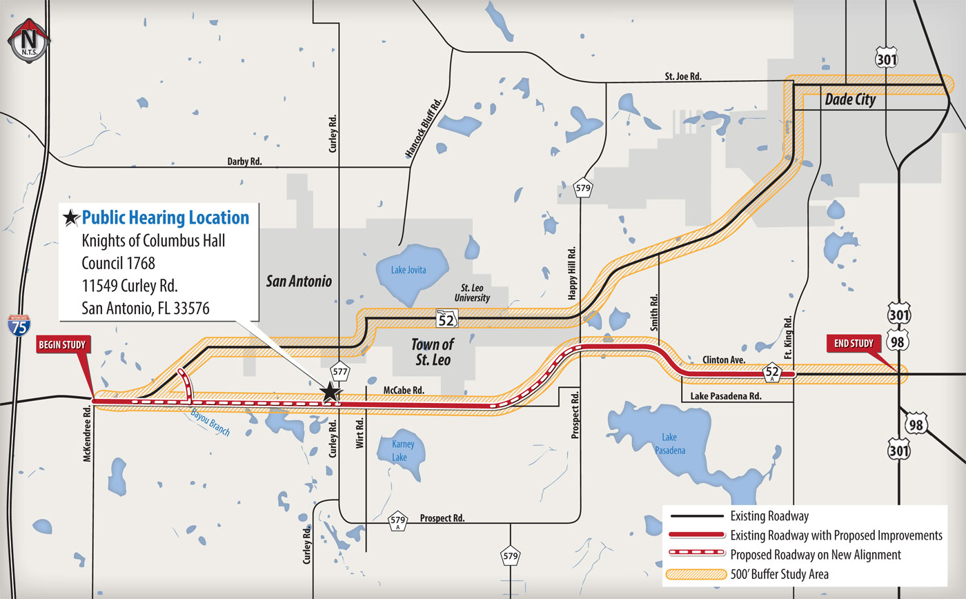 Map Of Pasco County Florida.State Road 52 Project Development And Environment Pd E Study